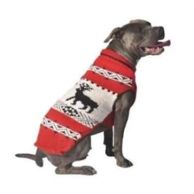 Chilly Dog Red Reindeer Shawl Dog Sweater-Paws & Purrs Barkery & Boutique