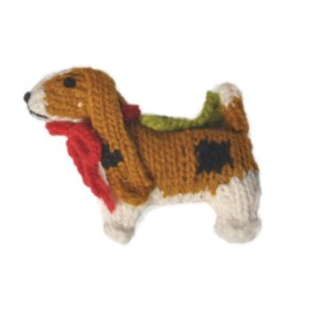 Chilly Dog Basset Hound Handmade Knit Christmas Tree Ornament-Paws & Purrs Barkery & Boutique