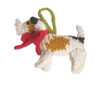 Chilly Dog Fox Terrier Handmade Knit Dog Christmas Tree Ornament-Paws & Purrs Barkery & Boutique