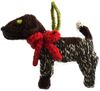 Chilly Dog German Shorthair Pointer Handmade Knit Dog Christmas Tree Ornament-Paws & Purrs Barkery & Boutique