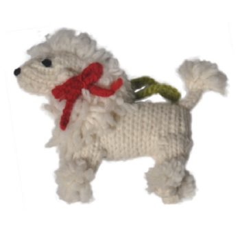 Chilly Dog White Poodle Handmade Knit Dog Christmas Tree Ornament-Paws & Purrs Barkery & Boutique