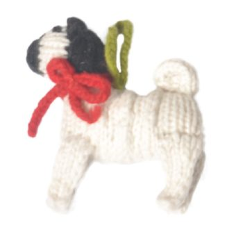 Chilly Dog Pug Handmade Knit Dog Christmas Tree Ornament-Paws & Purrs Barkery & Boutique