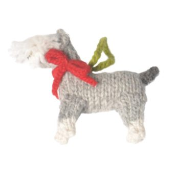 Chilly Dog Schnauzer Handmade Knit Dog Christmas Tree Ornament-Paws & Purrs Barkery & Boutique