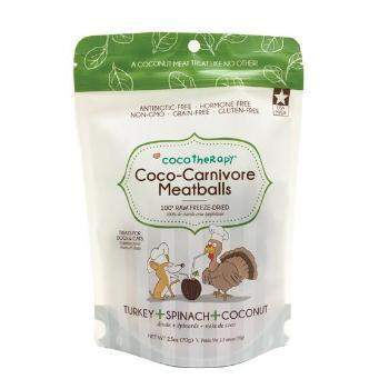 CocoTherapy Coco-Carnivore Freeze Dried Meatballs Dog & Cat Treats – Turkey, Spinach & Coconut-Paws & Purrs Barkery & Boutique
