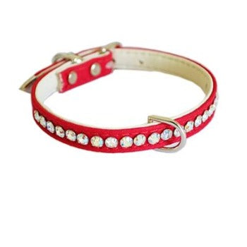 Jackie O Single Row Crystal Cotton/ Vegan Collar.