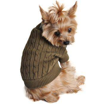 100% Pure Combed Cotton Herb Green Cable Knit Dog Sweater.