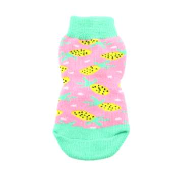 Doggie Design Pink Pineapple Non-Skid Dog Socks-Paws & Purrs Barkery & Boutique