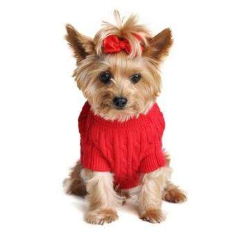 100% Pure Combed Cotton Fiery Red Cable Knit Dog Sweater