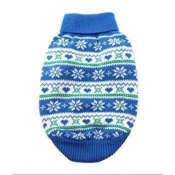 Doggie Design Blue Snowflake & Hearts Dog Sweater-Paws & Purrs Barkery & Boutique