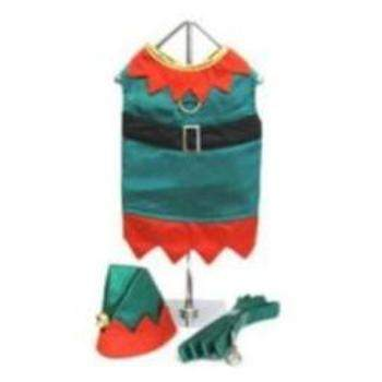 Doggie Design Elf Boy Costume Dog Harness w/Hat & Leash-Paws & Purrs Barkery & Boutique