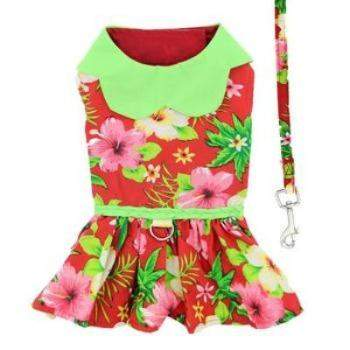 4be2a0b52094 Doggie Design Hawaiian Red Hibiscus Dog Harness Dress With Matching  Leash-Paws & Purrs Barkery