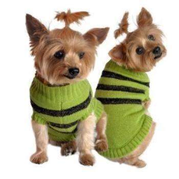 Doggie Design Olive Green and Brown Stripe Dog Sweater -Paws & Purrs Barkery & Boutique