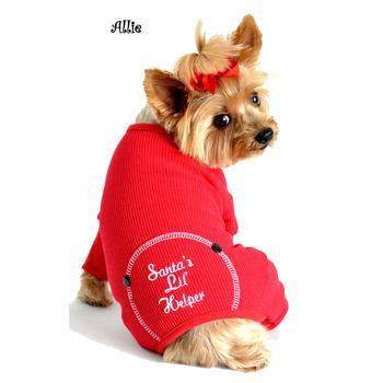 Doggie Design Santa's Lil' Helper Red Thermal Christmas Dog Pajamas-Paws & Purrs Barkery & Boutique