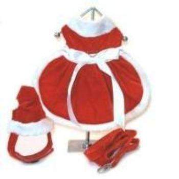 Doggie Design Santa Girl Harness Dog Dress w/Hat & Leash-Paws & Purrs Barkery & Boutique