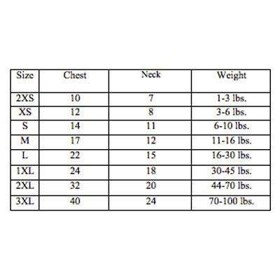 Doggie Design Sweater Size Chart