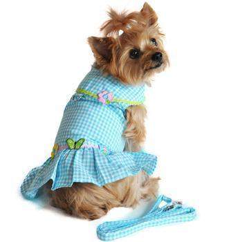 Doggie Design Turquoise Gingham Flower Dog Dress With Matching Leash-Paws & Purrs Barkery & Boutique