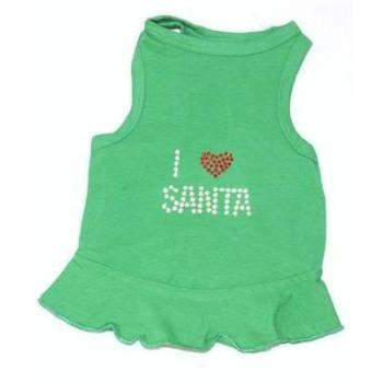 The Dog Squad I Love Santa Green Christmas Tank Dog Dress-Paws & Purrs Barkery & Boutique