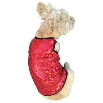 The Dog Squad Vixen Red Sequin Dog Tank Top Shirt-Paws & Purrs Barkery & Boutique