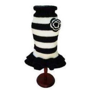 Dallas Dogs Black & White Knitted Dog Sweater Dress-Paws & Purrs Barkery & Boutique