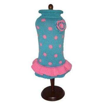 Dallas Dogs Turquoise/Pink Polka Dot Party Dog Sweater Dress-Paws & Purrs Barkery & Boutique