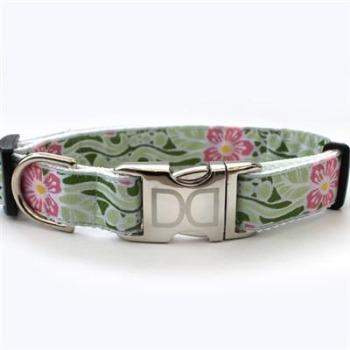 Diva Dog Maui Hibiscus Flower Small Dog Collar - All Metal Buckles