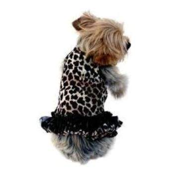 Brown Leopard Movie Star Velvet Tutu Dog Dress