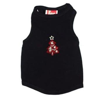 The Dog Squad Red Tree on Black Christmas Tank-Paws & Purrs Barkery & Boutique