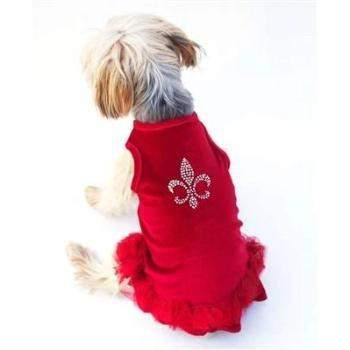 Dog Squad Red Velvet Fleur de Lis Tutu Dog  Dress-Paws & Purrs Barkery & Boutique