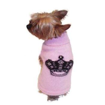 The Dog Squad Mimi Crown Angora Blend Designer Dog Turtleneck Sweater (Pink with Black Crown Intarsia)-Paws & Purrs Barkery & Boutique