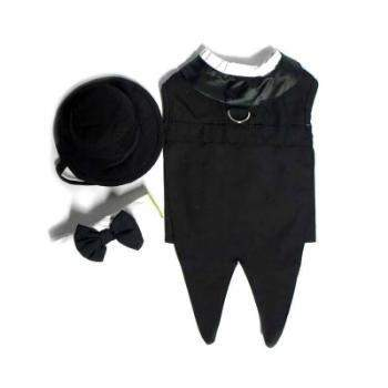 Doggie Design Dog Wedding Tuxedo-Black w/Tails, Bowtie Collar and D-Ring-Paws & Purrs Barkery & Boutique
