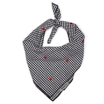 Gingham Hearts Tie Dog Bandana