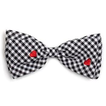 Gingham Hearts Dog Bow Tie