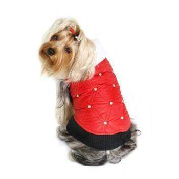 Hip Doggie HD Rhinestone Red Dog Puffer Vest-Paws & Purrs Barkery & Boutique
