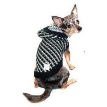 Black Candy Striped Hooded Dog Sweater.