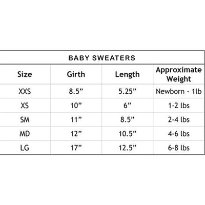 Hello Doggie Baby Dog Sweater Size Chart-Paws & Purrs Barkery & Boutique