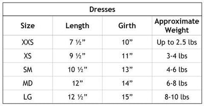 Hello Doggie Dog Dress Size Chart-Paws & Purrs Barkery & Boutique
