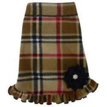 I See Spot Camel Blanket Plaid Fleece Dog Dress w/Flower & Ruffle -Paws & Purrs Barkery & Boutique