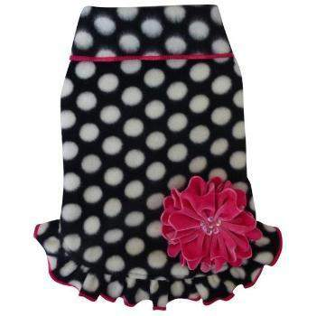 I See Spot Polka Dots with Ruffle Fleece Pullover Dog Dress-Paws & Purrs Barkery & Boutique