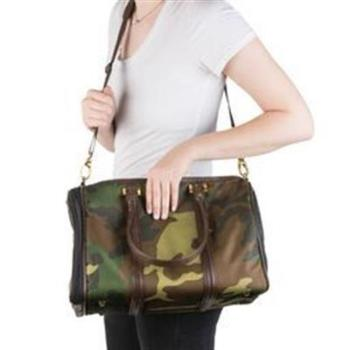 JL Duffle Dog Carrier - Camouflage w/Brown Trim.
