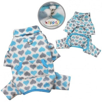 Blue & Gray Hearts Fleece Turtleneck Pajamas