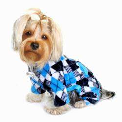 Blue & Black Argyle Fleece Turtleneck Pajamas