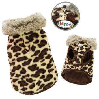 Klippo Padded Leopard Print Dog Vest with Fur Collar-Paws & Purrs Barkery & Boutique