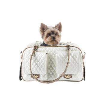 Petote Marlee Ivory Quilted with Snake Trim Dog Carrier-Paws & Purrs Barkery & Boutique