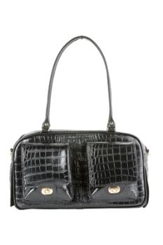 Petote Marlee Black Crocodile Dog Carrier-Paws & Purrs Barkery & Boutique