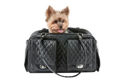 Petote Marlee Black Quilted Dog Carrier-Paws & Purrs Barkery & Boutique