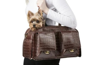 Petote Marlee Brown Crocodile Dog Carrier-Paws & Purrs Barkery & Boutique