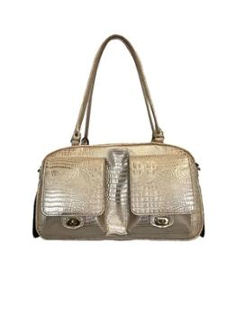 Petote Marlee Gold Crocodile Dog Carrier-Paws & Purrs Barkery & Boutique