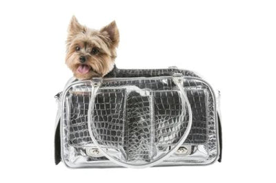 Petote Marlee Silver Alligator Dog Carrier-Paws & Purrs Barkery & Boutique