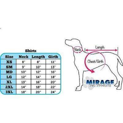 Mirage Pet Products T-Shirt Size Chart-Paws & Purrs Barkery & Boutique