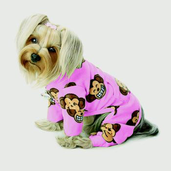 Klippo Silly Monkey Pink Fleece Turtleneck Dog Pajamas-Paws & Purrs Barkery & Boutique